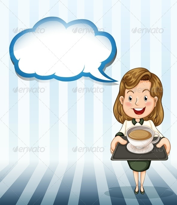 Woman with Coffee Tray and Empty Callout - Borders Decorative