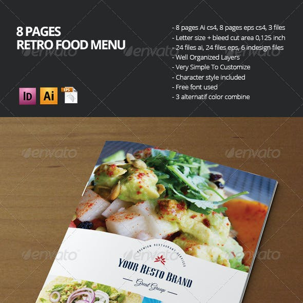 Retro Food Menu Brochure (8 Pages)