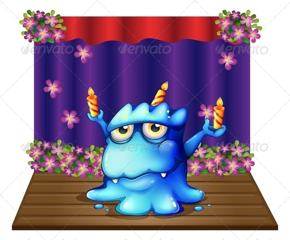 Stage with Monster and Birthday Candles - Monsters Characters