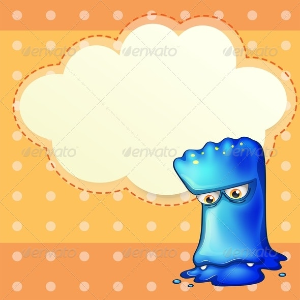 Sad Monster with Empty Cloud Template - Borders Decorative