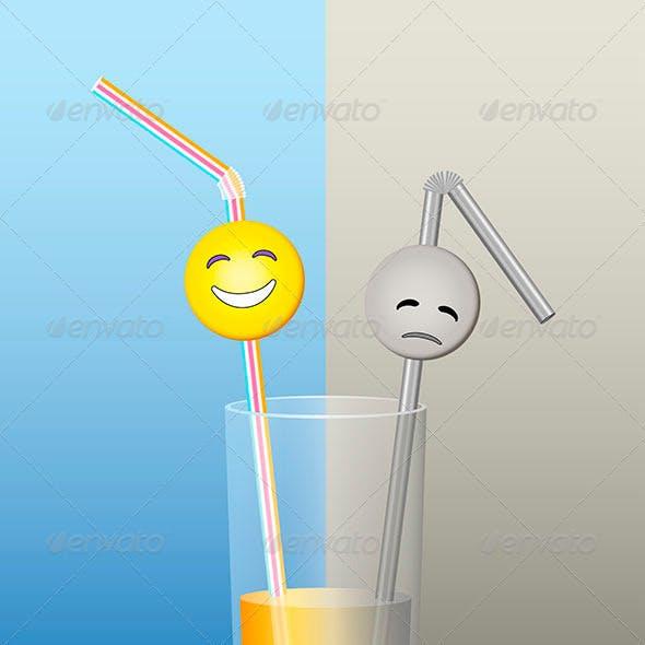 Glass Straws Half Full Half Empty