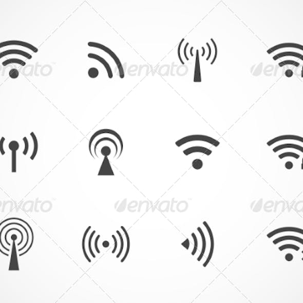 Set of Different Wireless and Wifi Icons