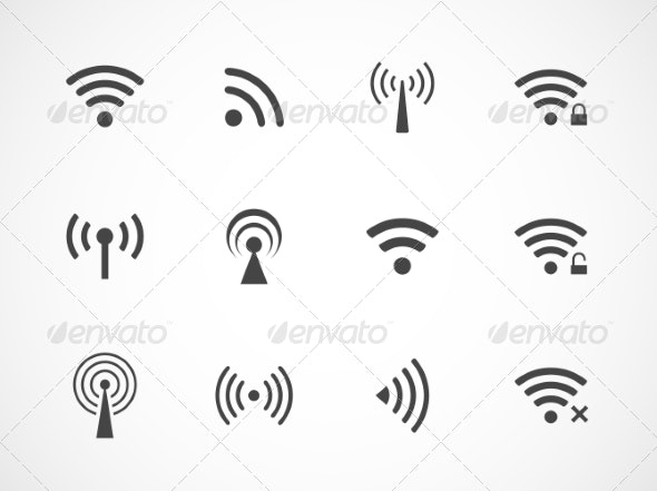 Set of Different Wireless and Wifi Icons - Computers Technology