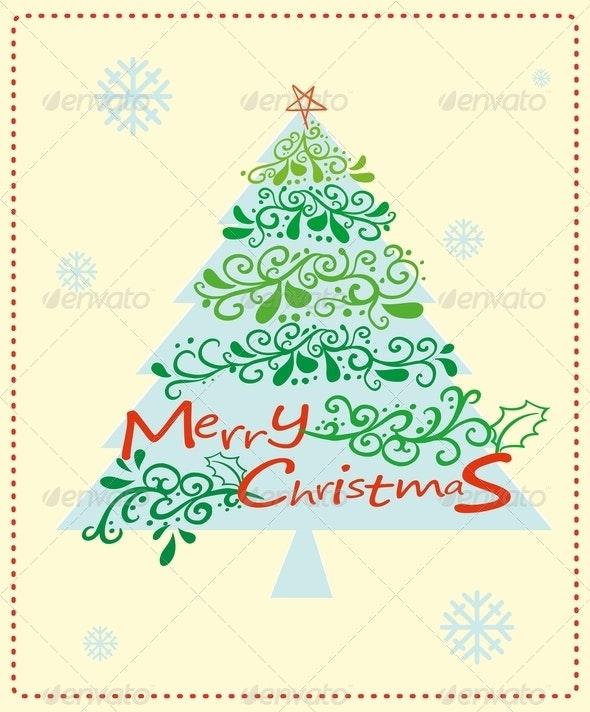 Christmas Card with Tree - Christmas Seasons/Holidays