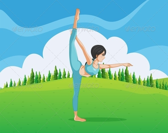 Girl Doing Yoga in the Park - People Characters