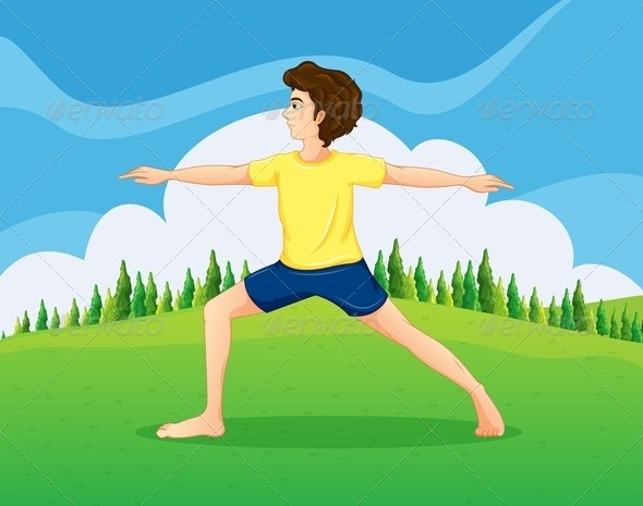 Man doing Yoga in the Park - People Characters