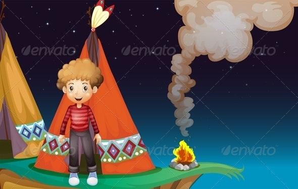 Boy Outside TeePee - People Characters