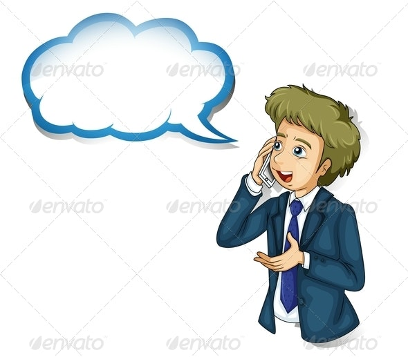 Businessman Talking on Phone - People Characters