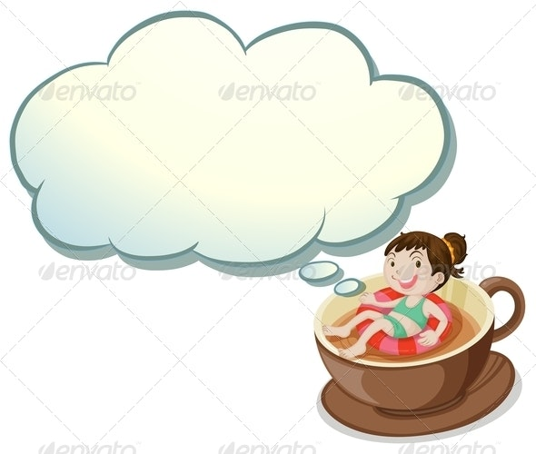 Girl Floating in Coffee Cup - Borders Decorative