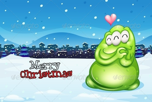 Christmas Card with Happy Monster - Monsters Characters
