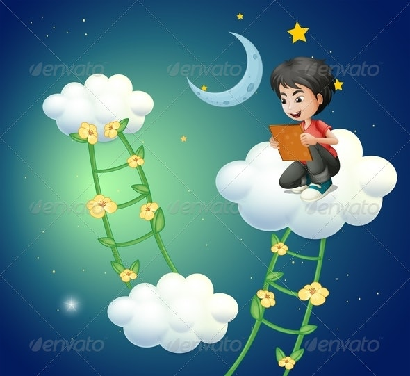 Boy on Cloud with Book - People Characters