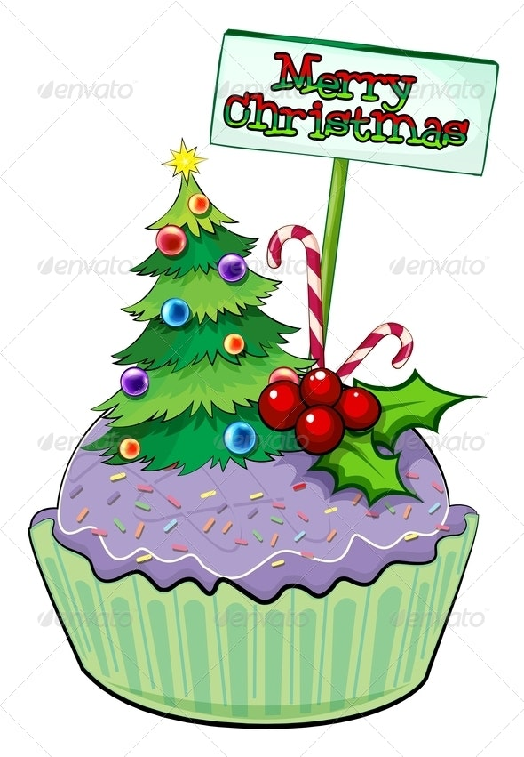 Cupcake with Christmas Tree and Sign - Food Objects