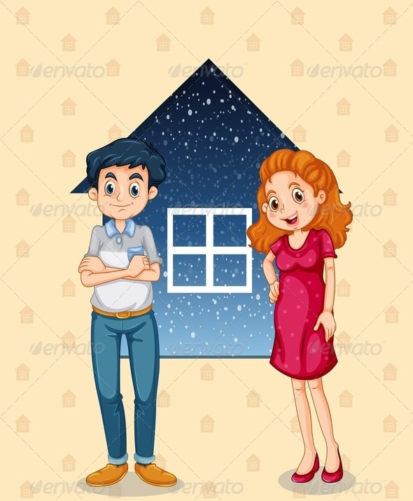 Couple Standing in Front of House Background - People Characters