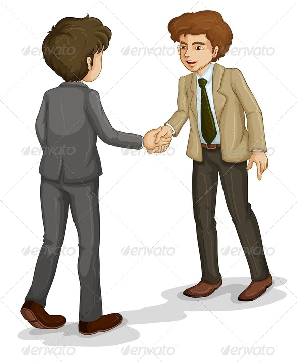 Two Businessmen Shaking Hands - People Characters
