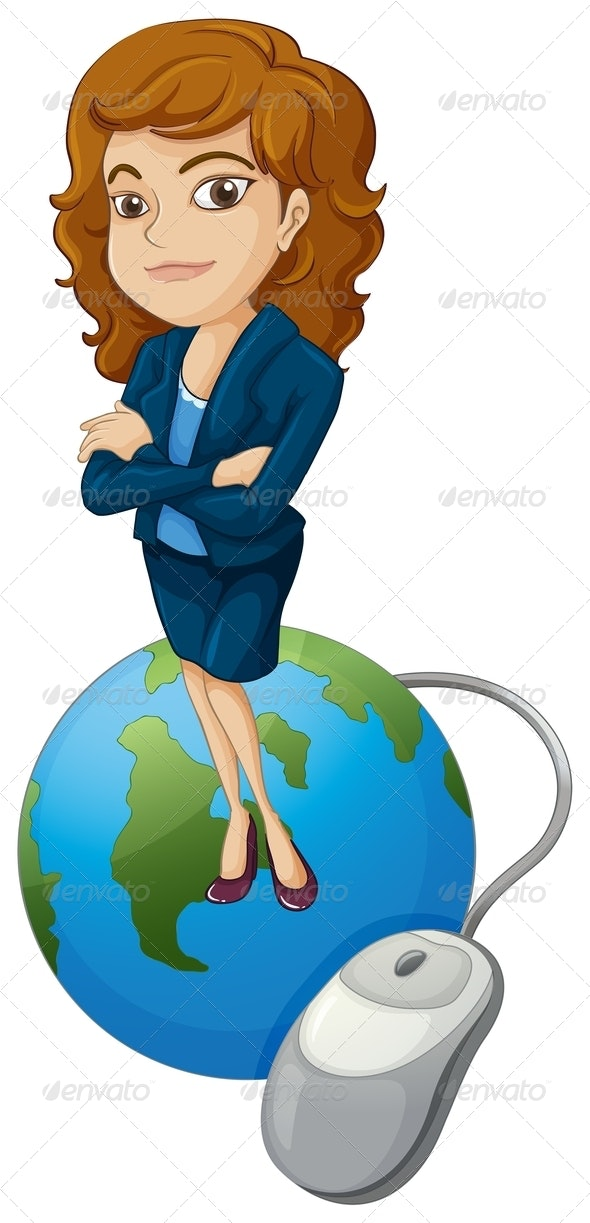 Woman on Globe with Computer Mouse - People Characters