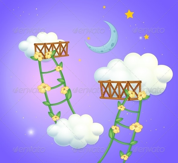 Ladder Between Clouds - Backgrounds Decorative