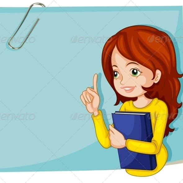 Lady with Book and Empty Notepaper