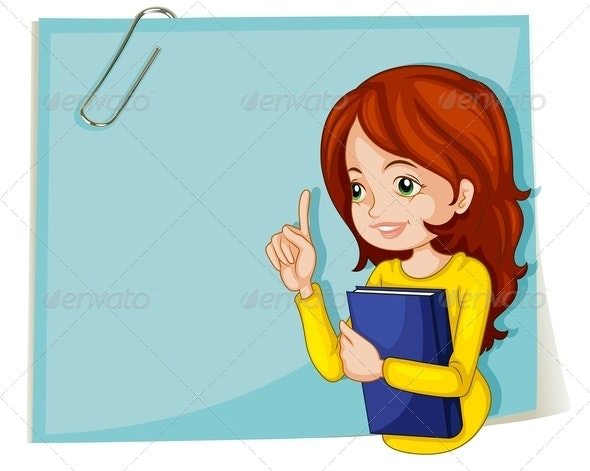 Lady with Book and Empty Notepaper  - Borders Decorative