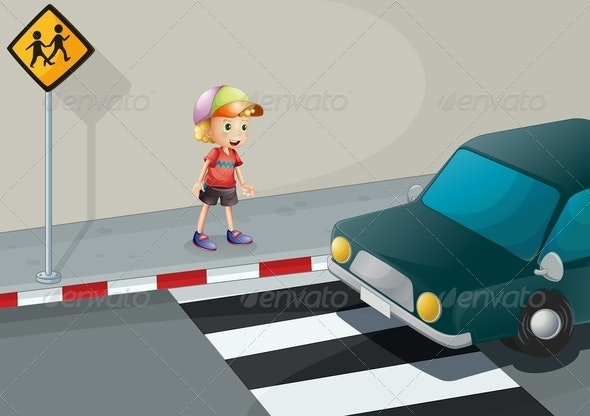 Young Boy at Pedestrian Crossing - People Characters