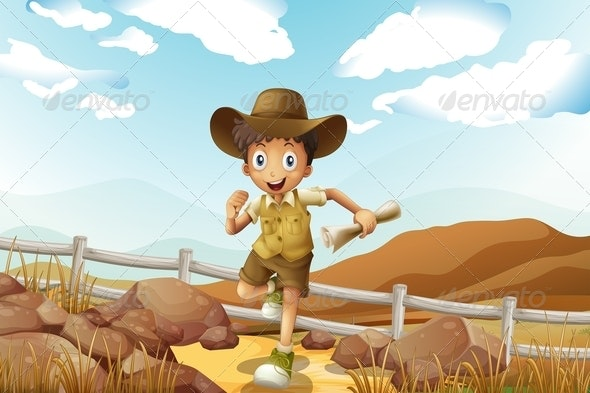 Young Explorer Running with Map in Hand - People Characters