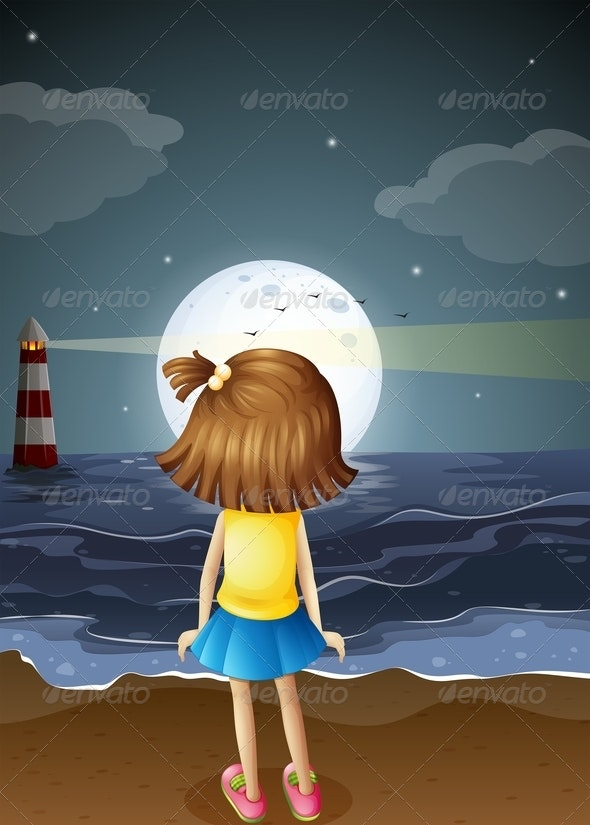 Girl at the Beach Watching the Moon - People Characters