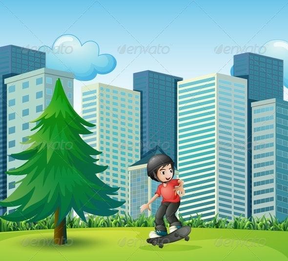 Boy Skateboarding Near Buildings - People Characters