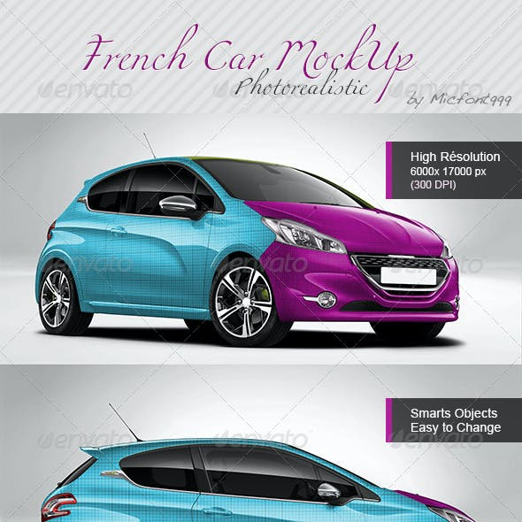 Photorealistic French Car Mock-up