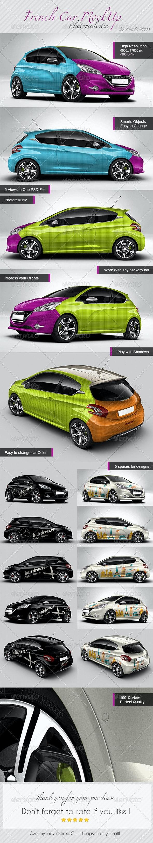 Photorealistic French Car Mock-up - Vehicle Wraps Print