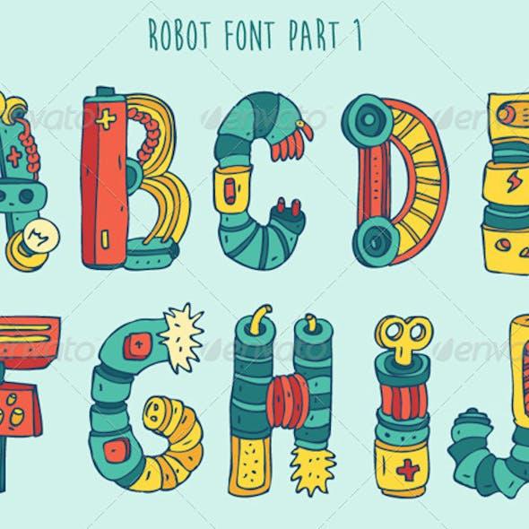 Cartoon Colorful Robot Font Part 1