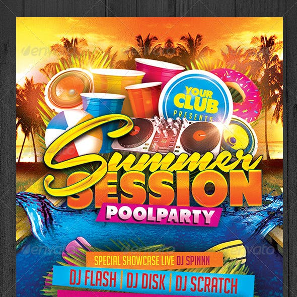 Summer Session Pool Party Flyer