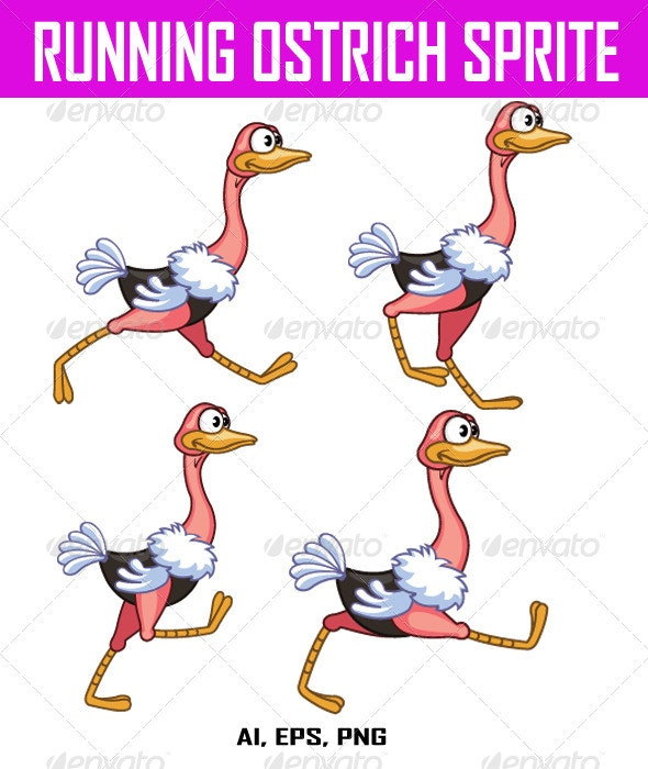 Running Ostrich Sprite - Animals Characters
