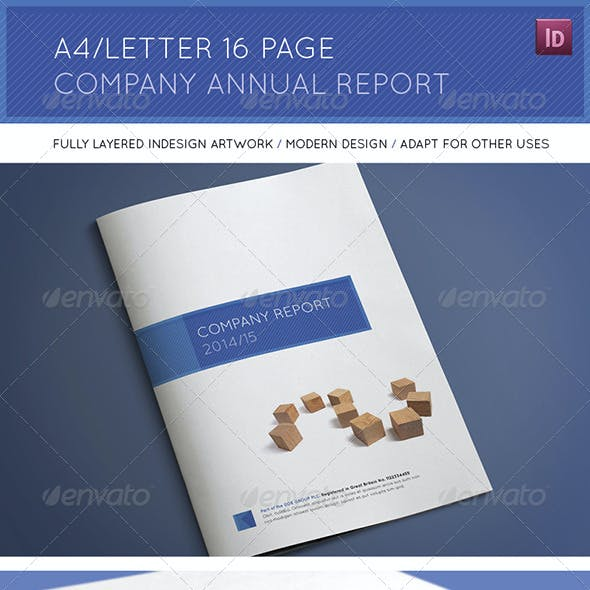 A4/Letter 16 Page Company Annual Report