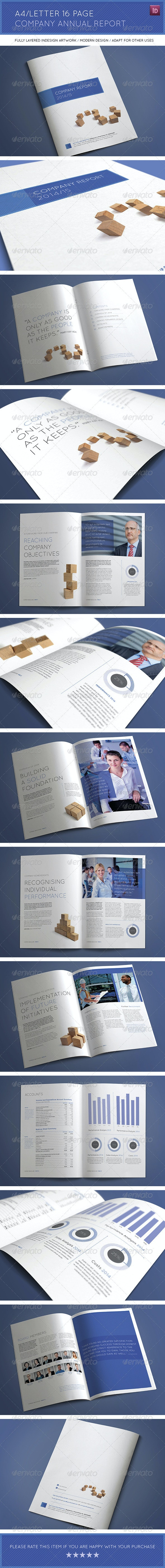 A4/Letter 16 Page Company Annual Report - Corporate Brochures