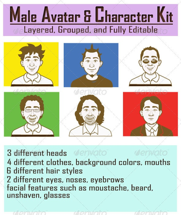 Male Avatar and Character Kit - Characters Vectors