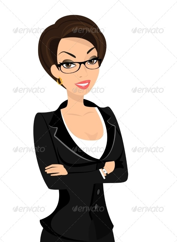 Business Woman Wearing Black Suit  - People Characters