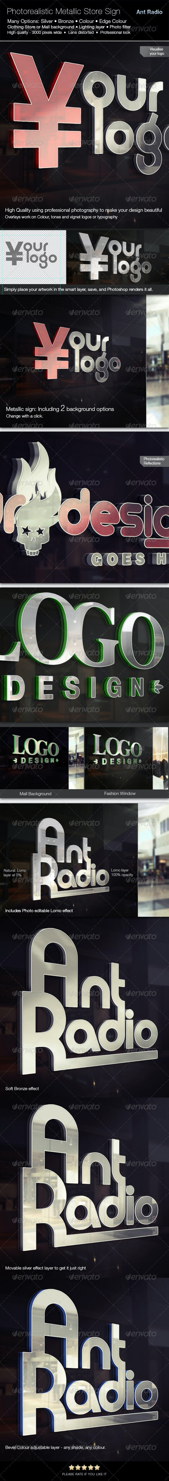 Photorealistic Metal Store Signage Mock-up - Product Mock-Ups Graphics