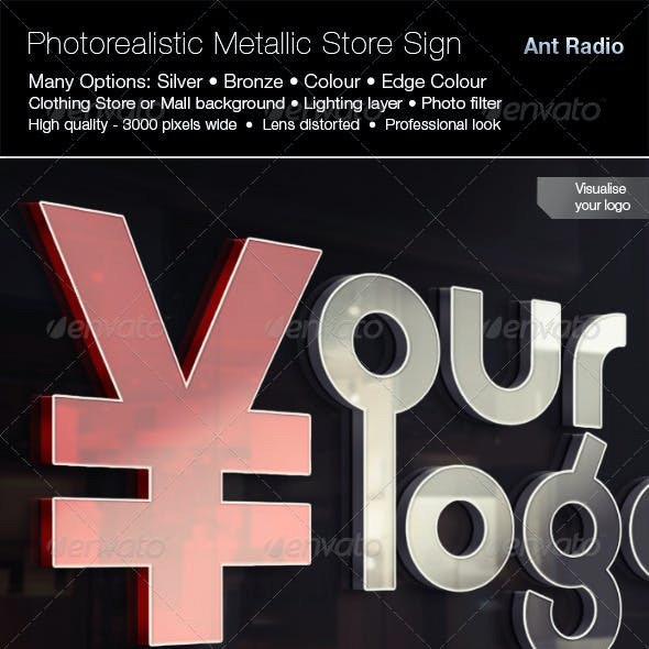 Photorealistic Metal Store Signage Mock-up