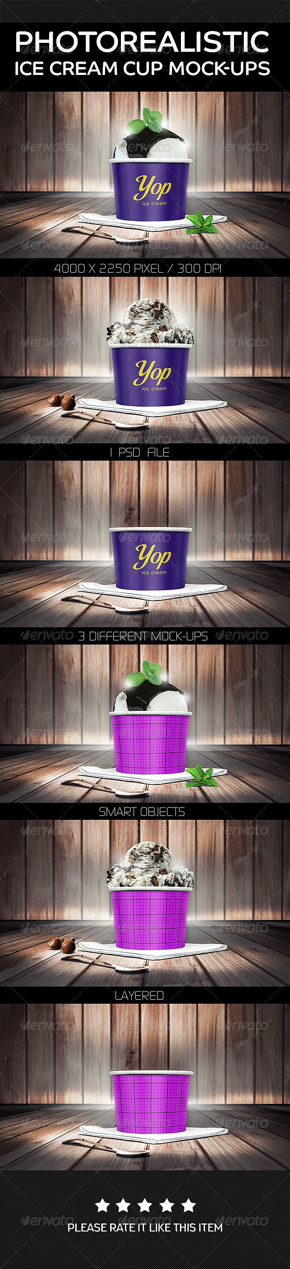Photorealistic Ice Cream Cup Mock-Ups - Food and Drink Packaging