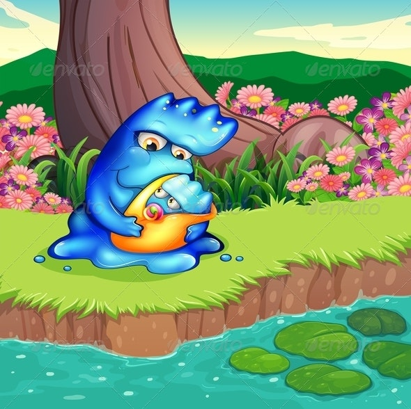 Mother Monster and Baby Monster at River - Monsters Characters