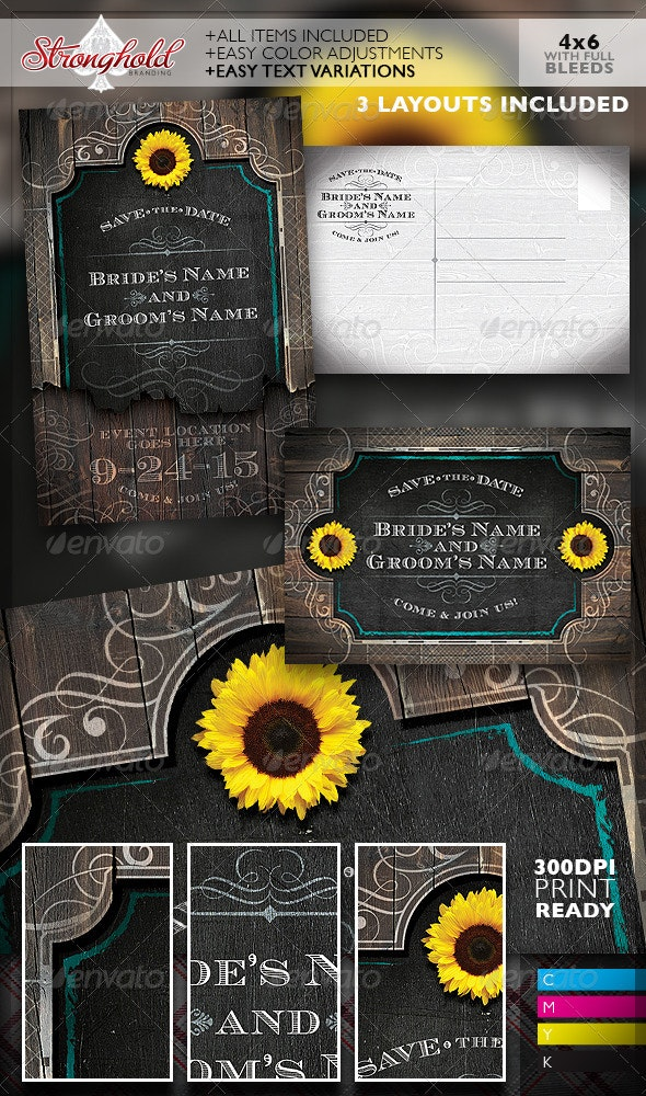 Western Save The Date Wedding Flyer Template - Weddings Cards & Invites