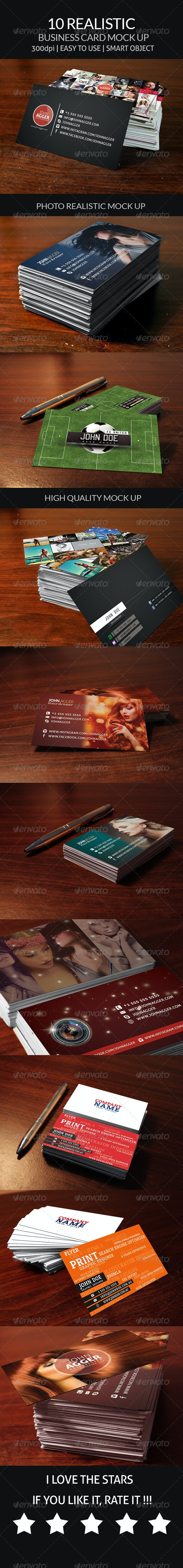10 Realistic Business Card Mock Up - Business Cards Print