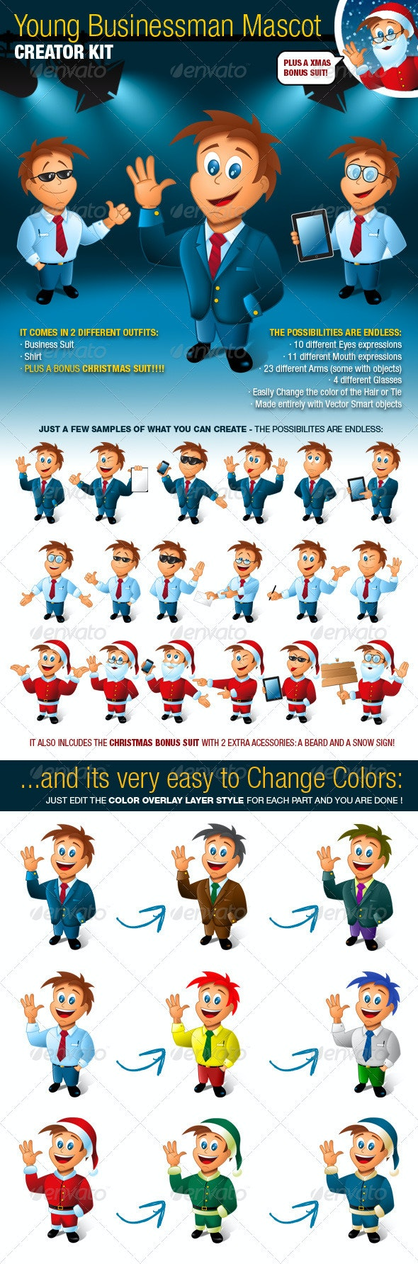 Young Business Man Mascot Creator Kit - Characters Illustrations