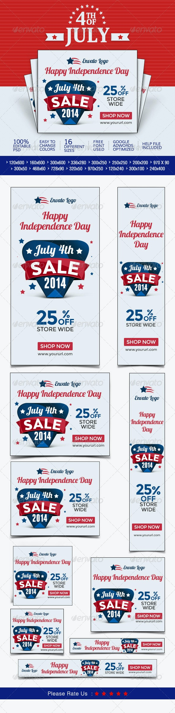 July 4th Sale Banners - Banners & Ads Web Elements