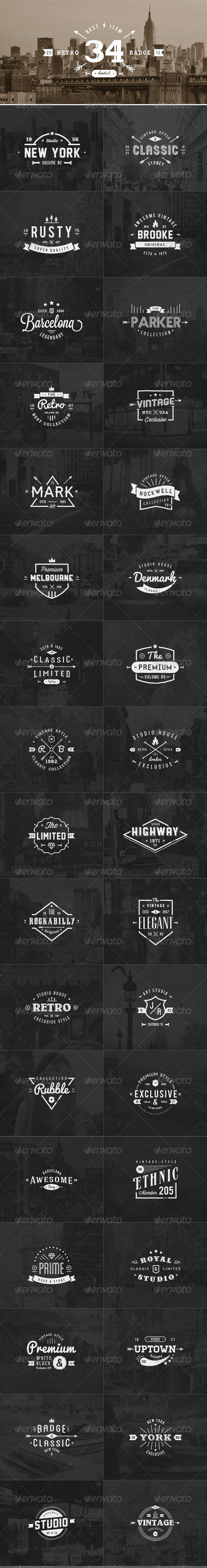 34 Retro Labels Badges - Badges & Stickers Web Elements