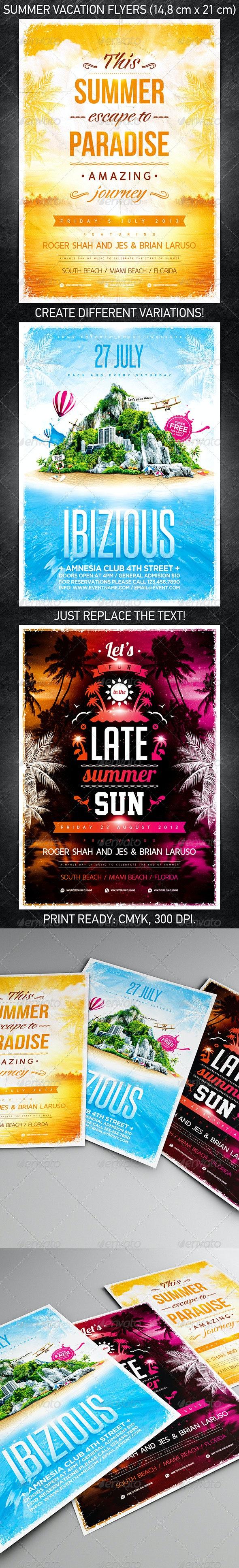 Summer Vacation Flyer Bundle - Flyers Print Templates