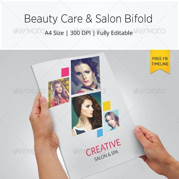 Beauty Care & Salon Bi-fold Brochure Template