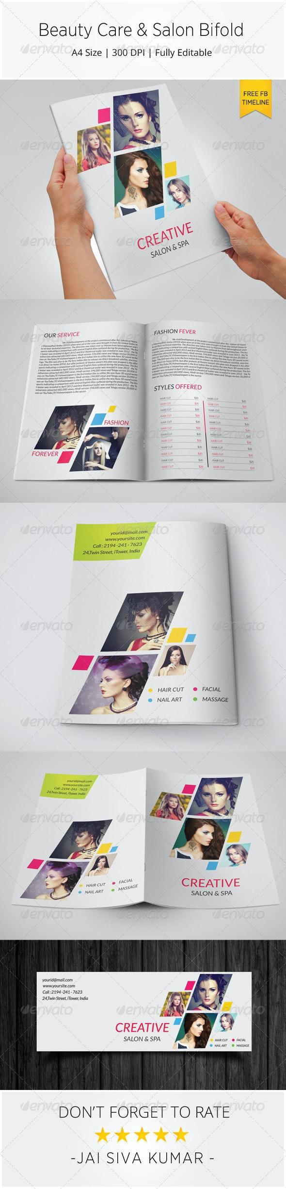 Beauty Care & Salon Bi-fold Brochure Template - Catalogs Brochures