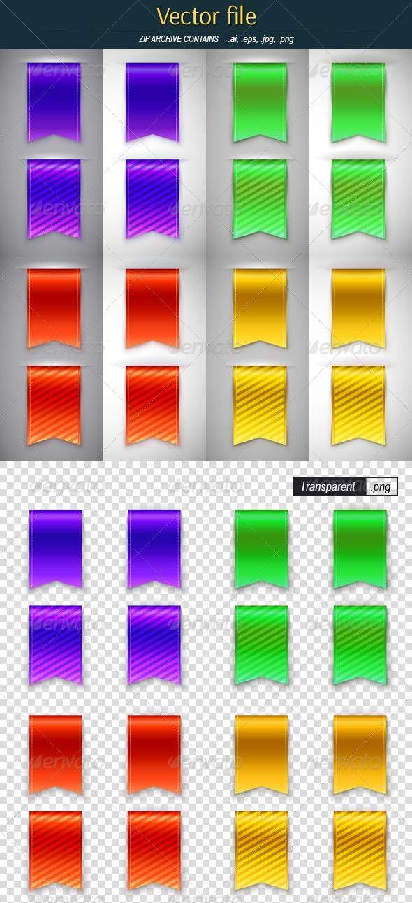 Color Bookmarks for Book - Objects Vectors