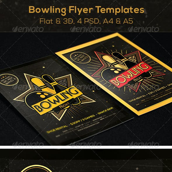 Bowling Magazine Ad, Poster or Flyer  - Flat & 3D