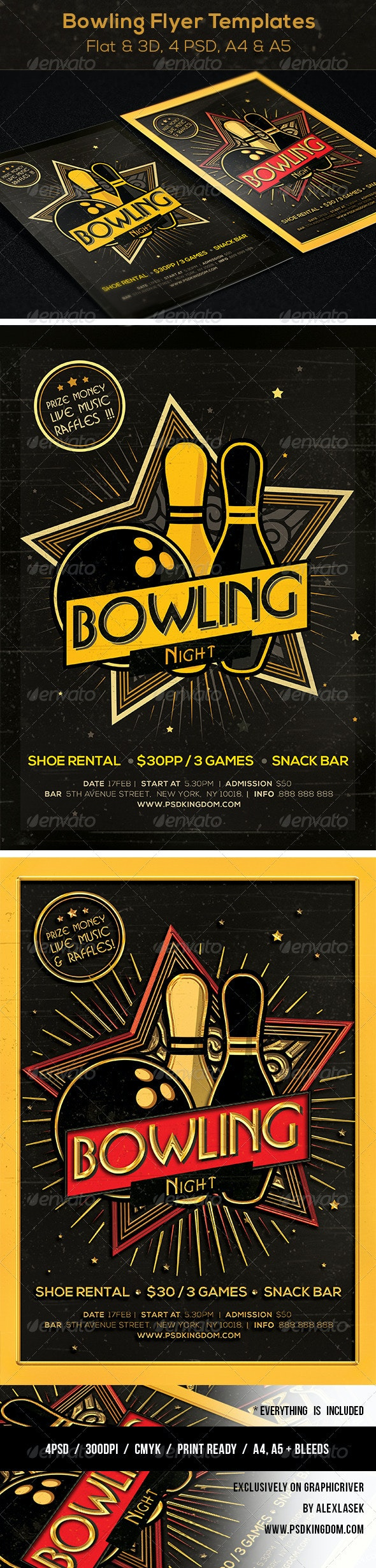Bowling Magazine Ad, Poster or Flyer  - Flat & 3D - Sports Events